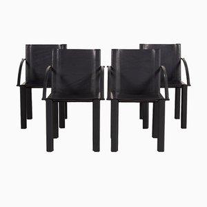 Set da salotto in pelle nera di Matteo Grassi, set di 4