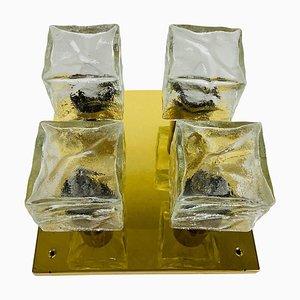 Quadratische Eisglas Deckenlampe von JT Kalmar, 1960er