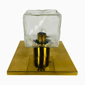 Square Ice Glass Flushmount by J. T. Kalmar, 1960s