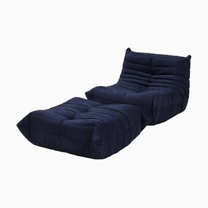 Togo Dark Blue Armchair and Footstool by Michel Ducaroy for Ligne Roset, Set of 2