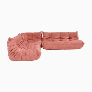 Togo Pink Modular Sofa and Footstool by Michel Ducaroy for Ligne Roset, Set of 3