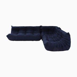Dunkelblaues Togo Sofa und Fußhocker von Michel Ducaroy für Ligne Roset, 3er Set