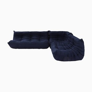 Togo Dark Blue Sofa and Footstool by Michel Ducaroy for Ligne Roset, Set of 3