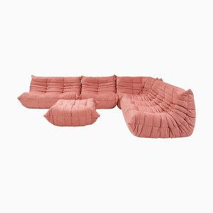 Togo Pink Modular Sofa and Footstool by Michel Ducaroy for Ligne Roset, Set of 5