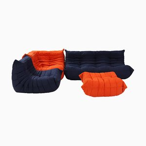Togo Blue and Orange Modular Sofa by Michel Ducaroy for Ligne Roset, Set of 4