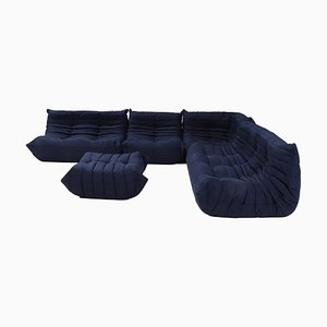 Togo Dark Blue Sofa and Footstool by Michel Ducaroy for Ligne Roset, Set of 5