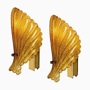 Murano Hand Blown Amber/Ocher Glass Seashell Sconces, Italy, 1960s, Set of 2