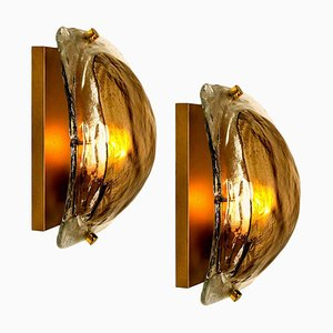 Brass and Brown Glass Hand Blown Murano Glass Wall Lights by J. Kalmar From Isa, Set of 2