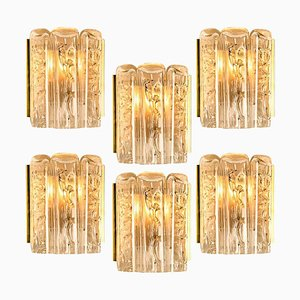 Large Quantity of Structured Blown Glass and Brass Wall Sconces from Doria Leuchten, 1960s