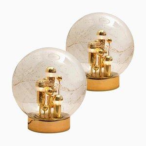 Große mundgeblasene Bubble Glas Tischlampen, 1970er, 2er Set