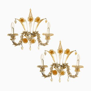 Venetian Wall Sconces in Murano Glass, 1960s, Set of 2