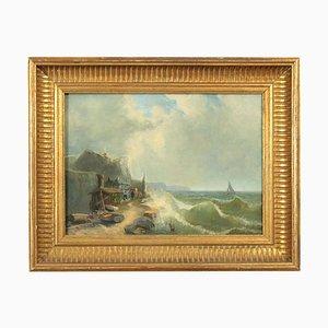 Villaggio dei pescatori, olio su tela
