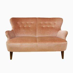 Dutch Vintage Pink Velvet Sofa Bank by Theo Ruth for Artifort