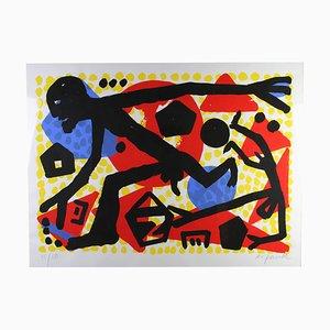 AR Penck, Ost West Sprung, Siebdruck, 1994-1995