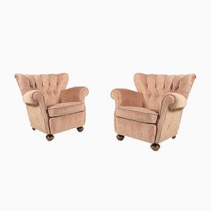 Swedish Lounge Armchair in Velvet Upholstery, 1950s