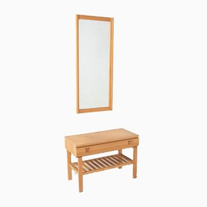 Solid Pine Lowboard with a Mirror from Froseke, 1960s, Sweden