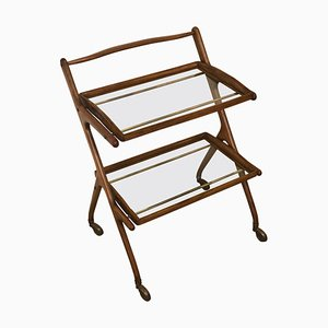 Wheeled Walnut Wood Trolley with Removable Glass Shelves by Cesare Lacca