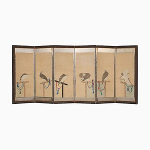 Mid-19th-Century Japanese Polychrome Paper Painted Room Divider