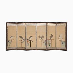 Paravent Mid-Century en Papier Polychrome Peint, Japon, 19ème Siècle