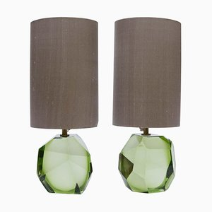 Green Murano Diamond Cut Faceted Glass Table Lamps, Set of 2