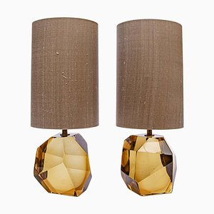 Amber Murano Diamond Cut Faceted Glass Table Lamps, Set of 2