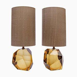 Bernsteinfarbene Murano Diamant geschliffene Tischlampen aus facettiertem Glas, 2er Set
