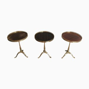 Neoclassical Style Brass and Mahogany Side Tables by Maison Jansen, France, 1940s, Set of 3