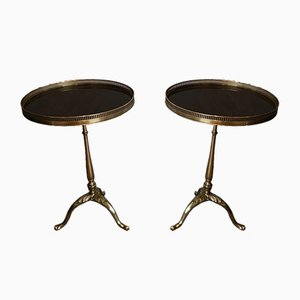 Neoclassical Style Brass and Mahogany Side Tables by Maison Jansen, France, 1940s, Set of 2