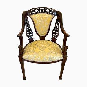 Antiker viktorianischer Armlehnstuhl aus geschnitztem Mahagoni