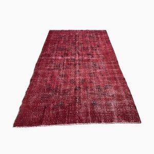 Alfombra turca vintage de lana bañada en rojo