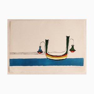 Maurilio Catalano, Gondola, Original Lithographie, 1970er