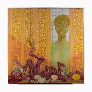 Leo Guida, Butchers Shop, Original Oil Paint on Canvas, 1983