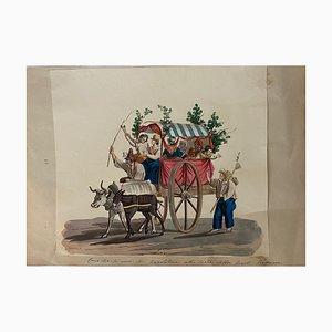 Michela De Vito, Wagen mit Neapolitan, Original Gouache, 19. Jh