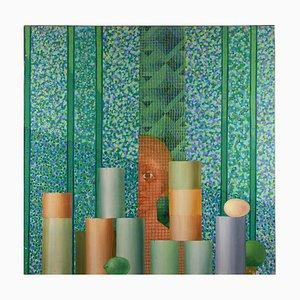 Leo Guida, Little Market (Mercatino), Original Oil Paint on Canvas, 1983