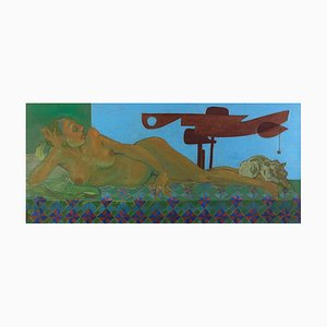 Leo Guida, Lying Nude with Signals 1, Original Oil Paint on Canvas, 1988