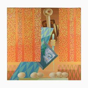 Leo Guida, The Mirror, Original Oil Paint on Canvas, 1983