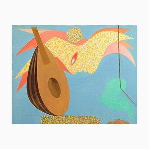 Leo Guida, Mandolin, Original Oil Paint on Canvas, 1970s
