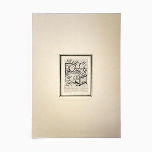 Gabriele Galantara, Studie für den Esel, Bleistift und China Tinte, 1905
