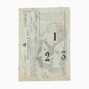 Mino Maccari, Three Profiles, Original China Ink Drawing, 1960s