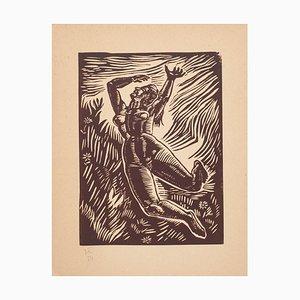 Nicolas Kaoudnoff, The Fly, Original Woodcut, 1954