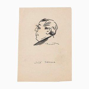 Bonet romano, retrato de José Padilla, dibujo original con pluma, mediados del siglo XX