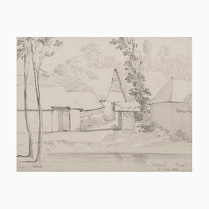Ernest Hébert ,The House in Picardie, Pencil, 1856