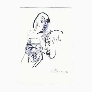 Mino Maccari, Three Sketched Portraits, China Ink, 1960s