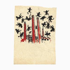 Mino Maccari, Eine Explosion in der Fabrik, Original Marker Zeichnung, 1970er