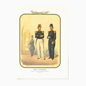Antonio Zezon, Telegraphic Corps, Originale Lithographie, 1855