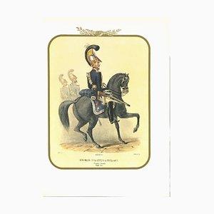 Antonio Zezon, Bodyguard on Horseback, Original Lithograph, 1851