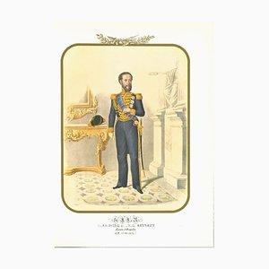 Antonio Zezon, Prinz Louis Bourbon, Originale Lithographie, 1850er