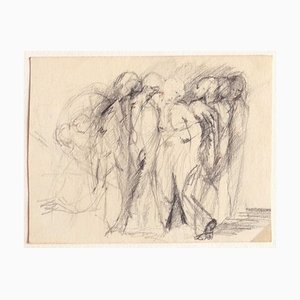 Unknown, Figures, Original Carbon Pencil Drawing, Early 20th-Century