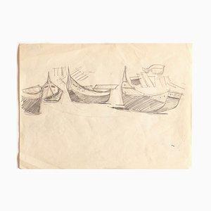 Unknown, Boats, Original Bleistiftzeichnung, frühes 20. Jahrhundert