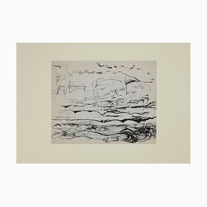 Herta Hausmann, Landscape, Original Pencil and Pen, Mid-20th-Century